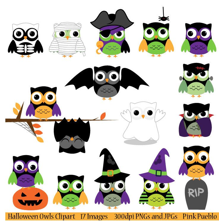 Halloween Owls Clipart Clip Art, Includes Vampire, Mummy.
