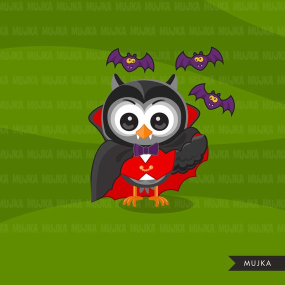 Halloween owls clipart. Cute owls in Halloween costumes.