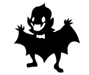 Cute Halloween Vampire Silhouette Clip Art.