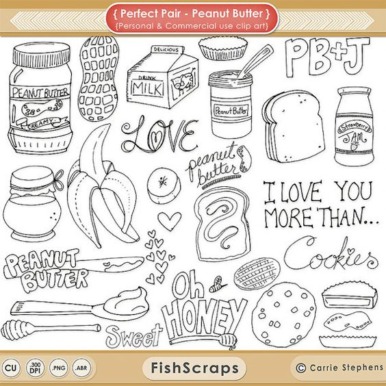 Peanut Butter & Jelly Digital Stamps, Whimsical Doodle Outlines.