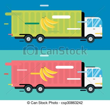 EPS Vector of Delivery truck. service van silhouette.