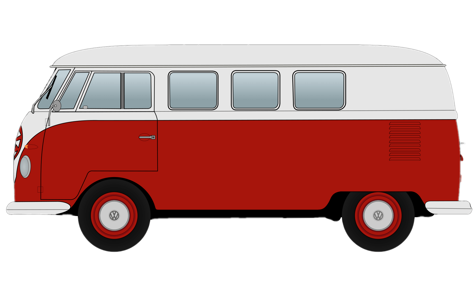 Red Volkswagen Camper Van Clipart transparent PNG.