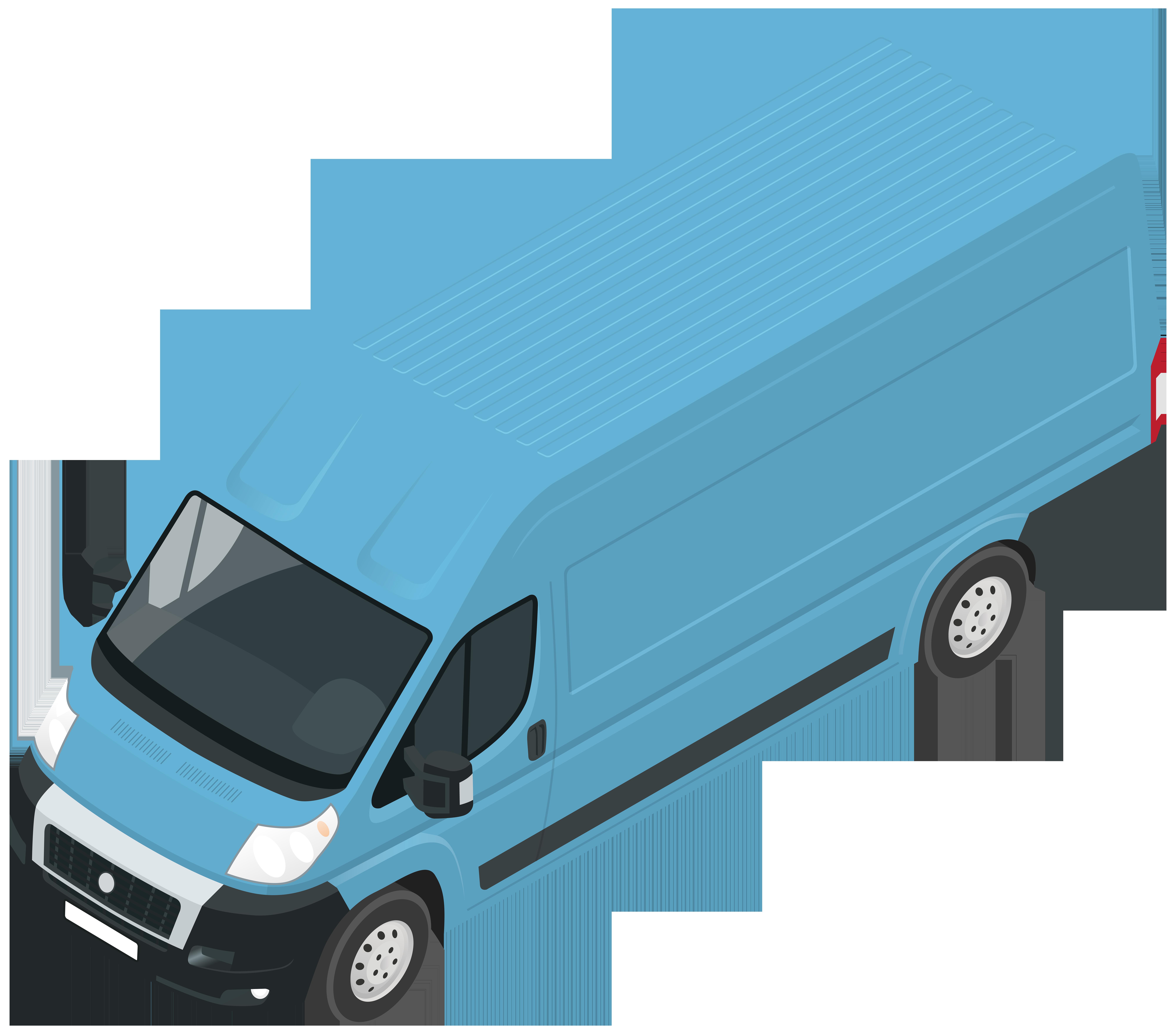 Blue Van PNG Clip Art.