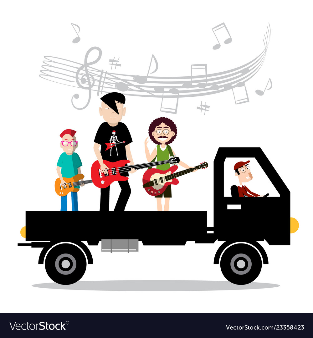 Music band on van with driver isolted on white.