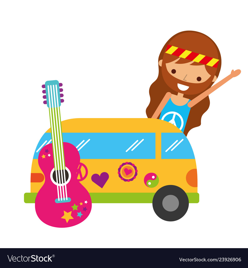 Hippie man cartoon van car and guitar.