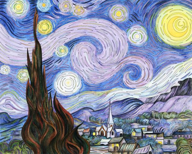 The Starry Night (1889) by Vincent van Gogh: adult coloring.