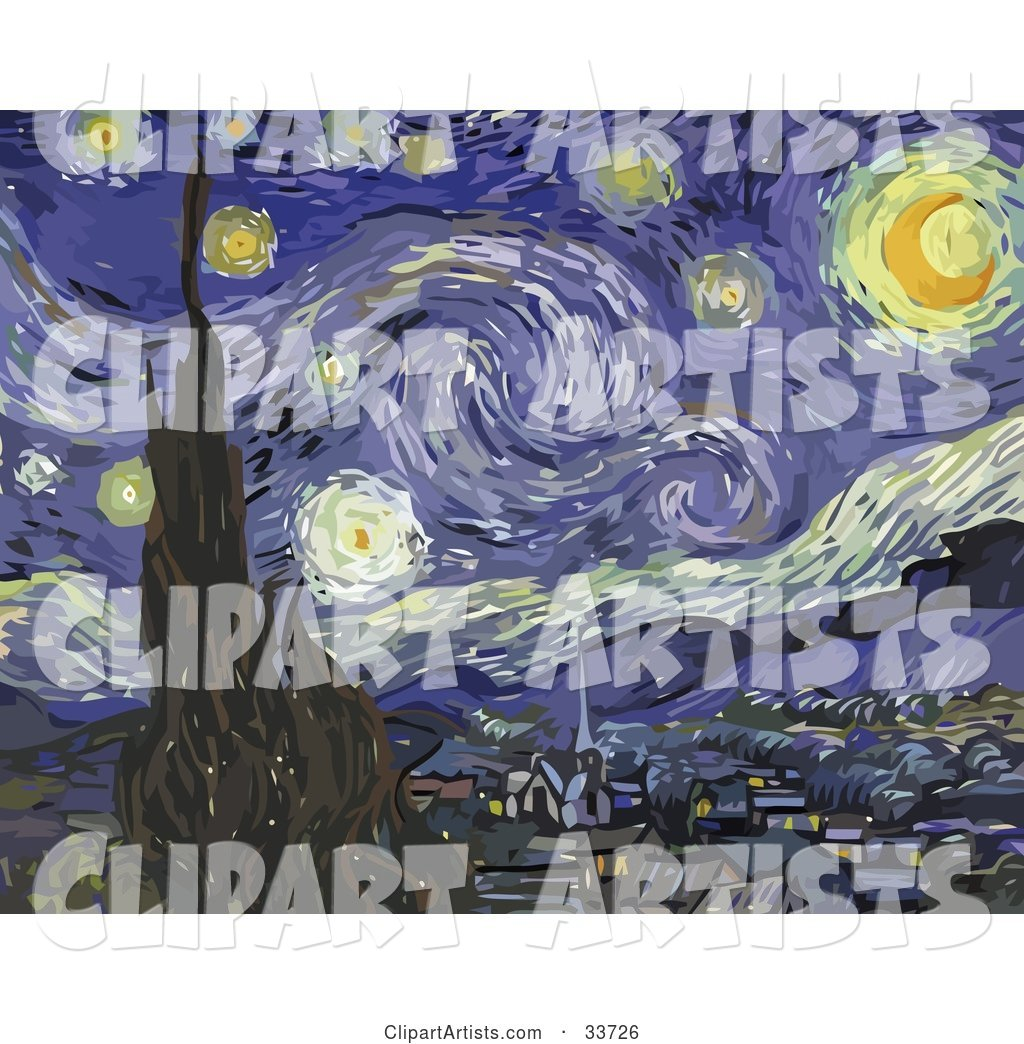 The Starry Night, Original By Vincent Van Gogh Clipart by JVPD.