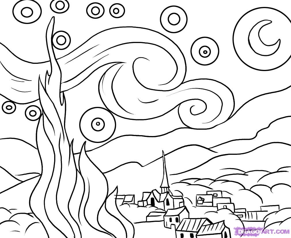 Starry Night by Van Gogh Coloring Page.