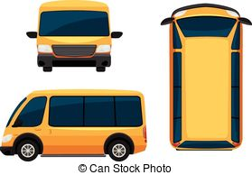 Top view of a van, vector illustration clipart vector.