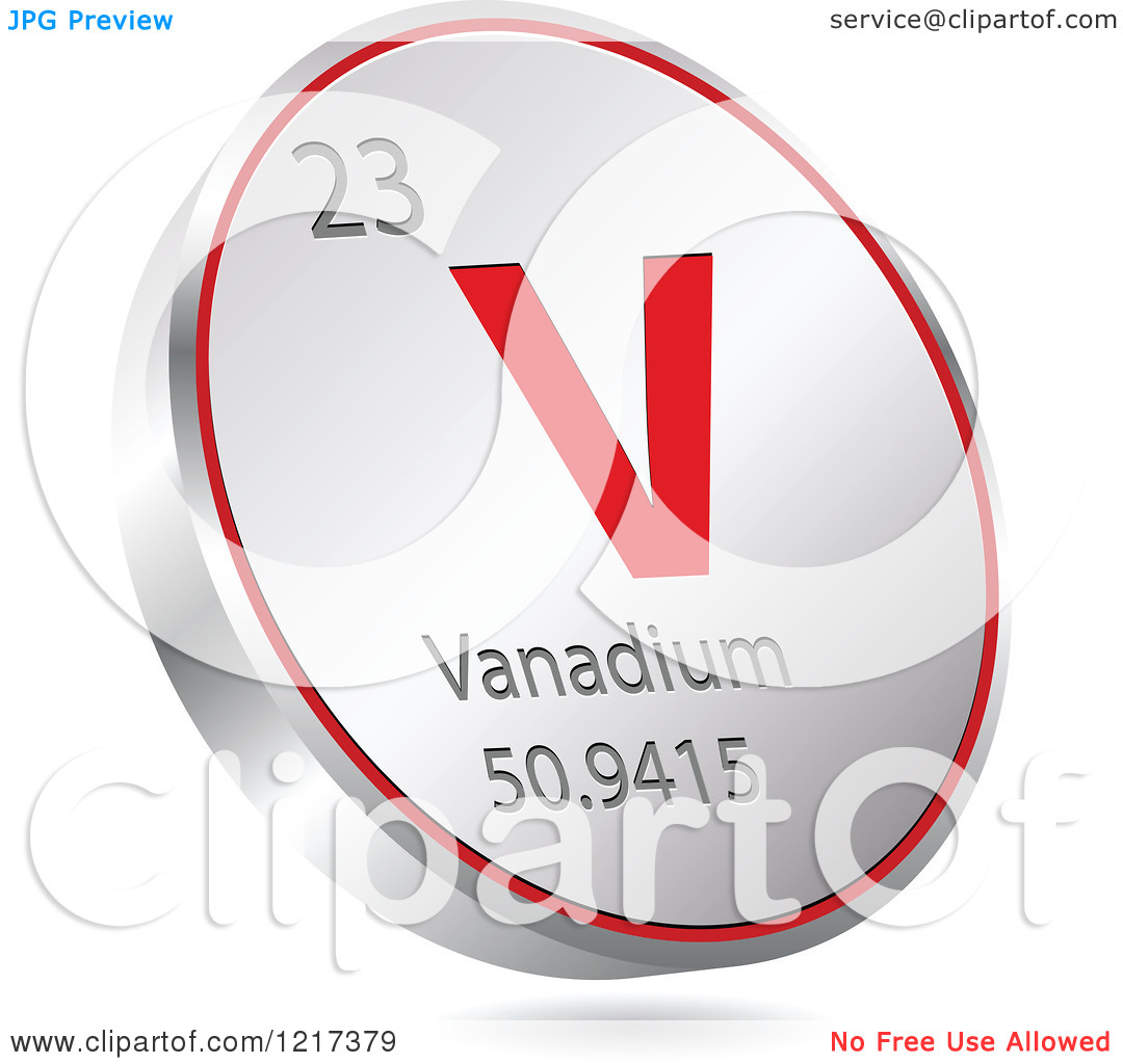 Clipart of a 3d Floating Round Red and Silver Vanadium Chemical.