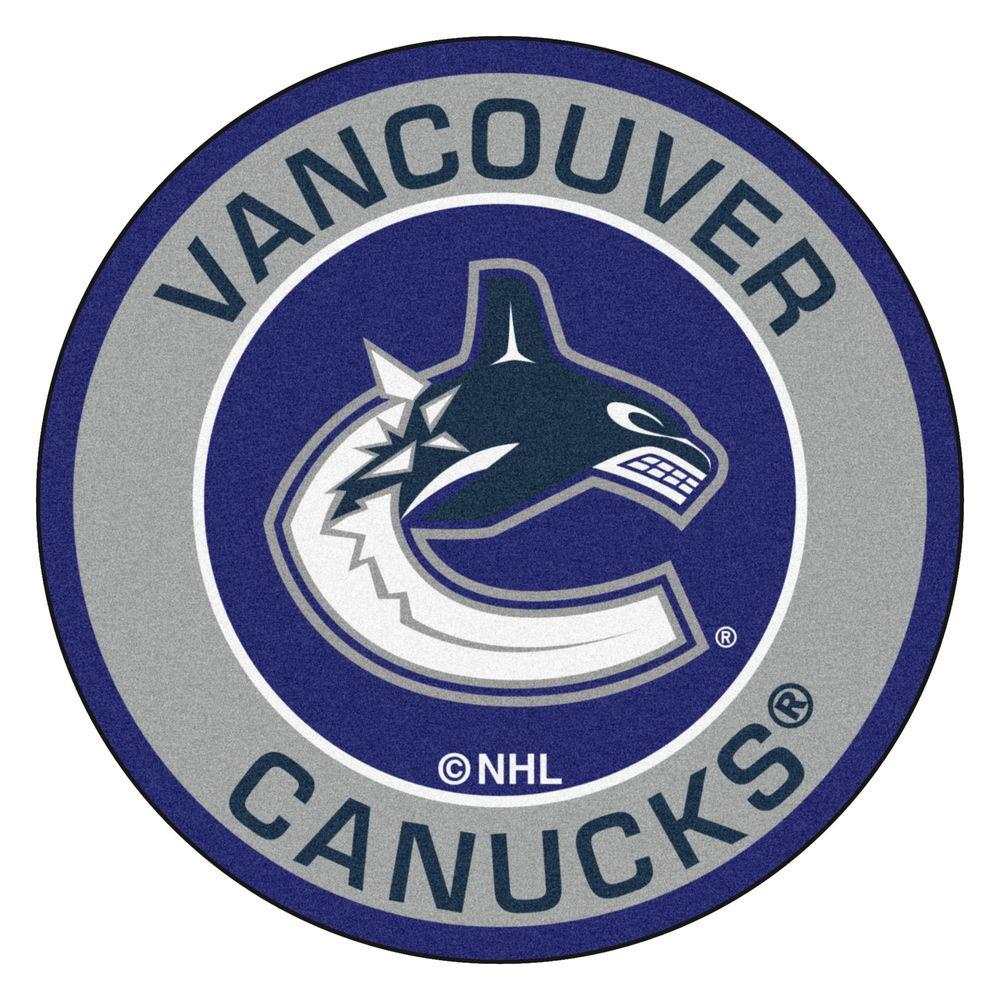 FANMATS NHL Vancouver Canucks Gray 2 ft. x 2 ft. Round Area Rug.