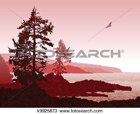 Clipart of Vancouver Island BC West Coast Landscape k9925873.