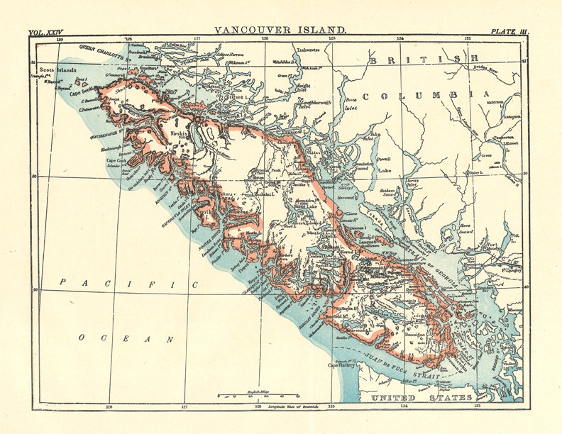 old map of Vancouver Island from a 1904 Encyclopedia by ArtDeco.