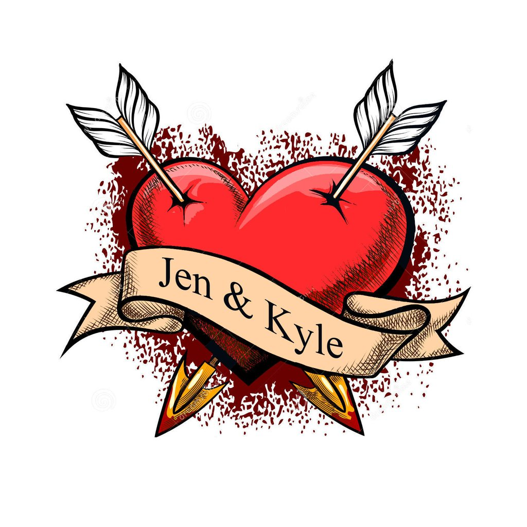 Custom Heart Fake Tattoo.
