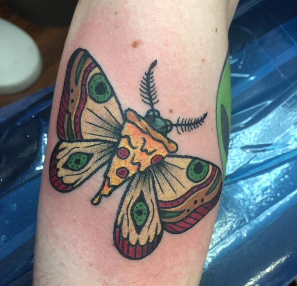 Pizza moth by David Gregory @ Altered Reality Tattoo in.