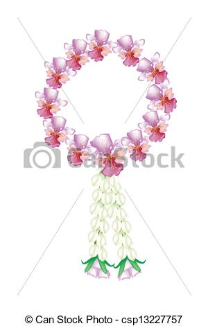 Clipart Vector of A Fresh Pink Colors of Vanda Orchid Garland.