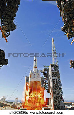 Stock Images of A Delta IV Heavy Launch Vehicle launches from.