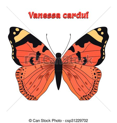 Vector Clipart of Butterfly vanessa cardui vector illustration.