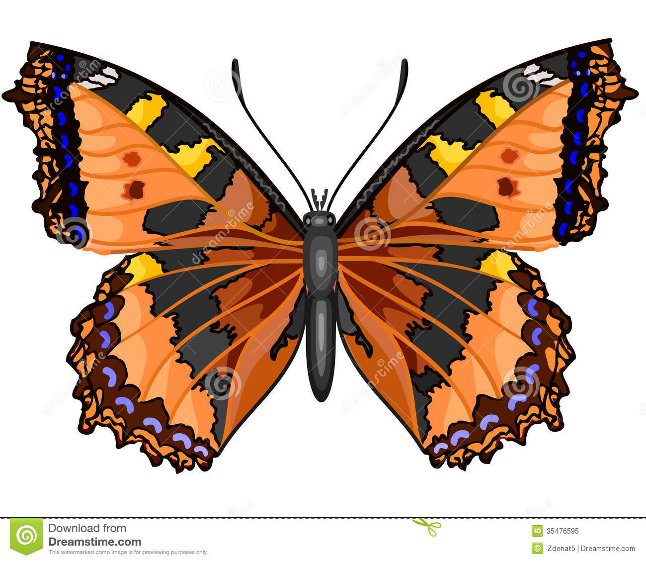 Butterfly Vanessa Cardui Royalty Free Stock Photo.