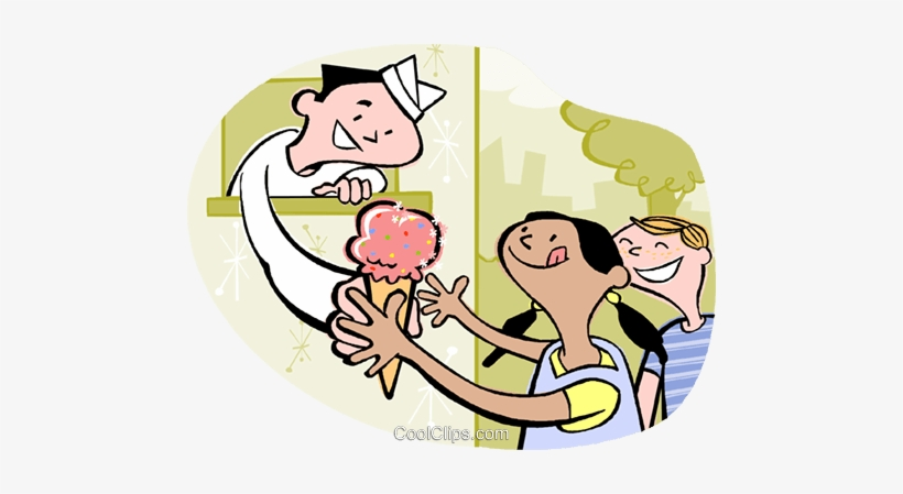 Kids Buying Ice Cream Royalty Free Vector Clip Art.
