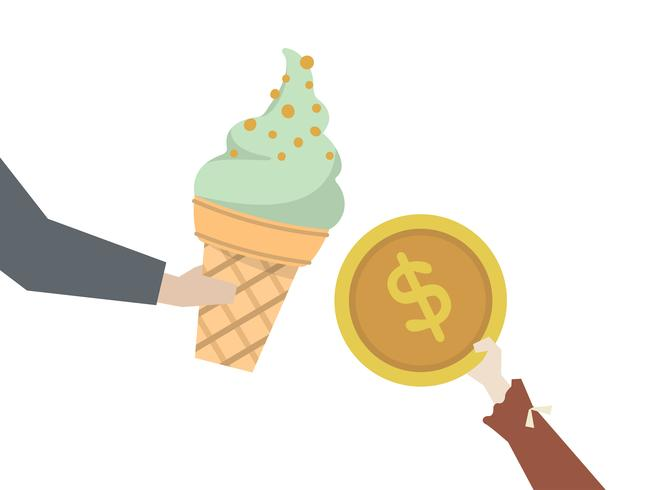 Kid buying an ice cream.