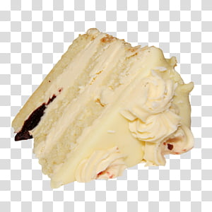 Slice of vanilla cake transparent background PNG clipart.
