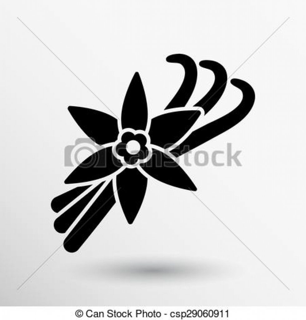vector clip art of vanilla flower and vanilla pods vector logo.
