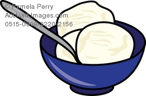 Bowl of Vanilla Ice Cream Clip Art.