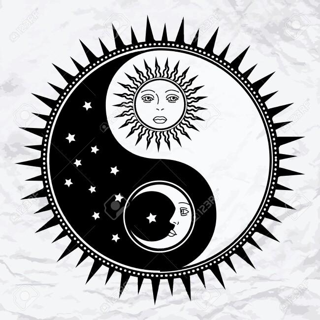 sun moon tattoo idea.
