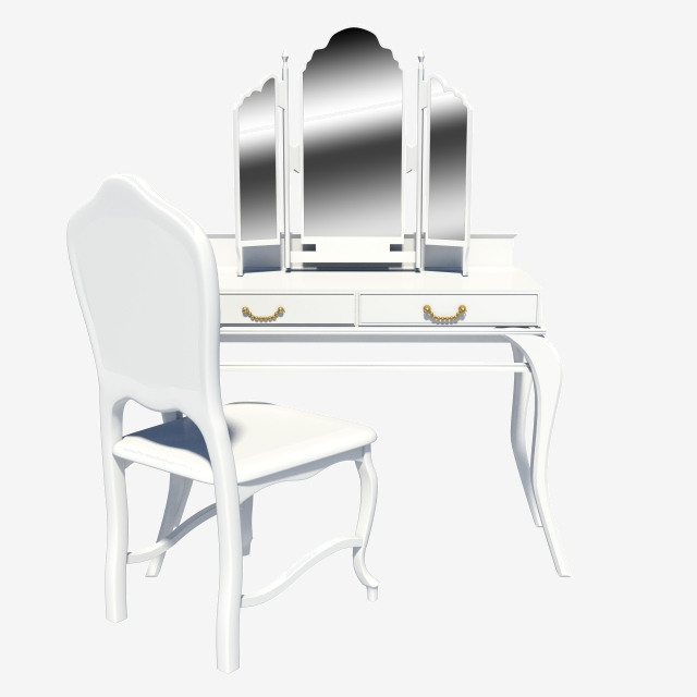 White European Dressing Table Vanity Mirror, White, European.