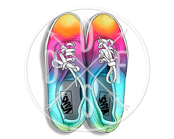 A0060_rainbow Vans Shoes Rainbow Tie Dye Ombre Digital.