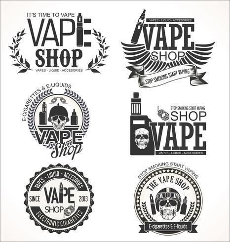 Vape shop labels retro collection.