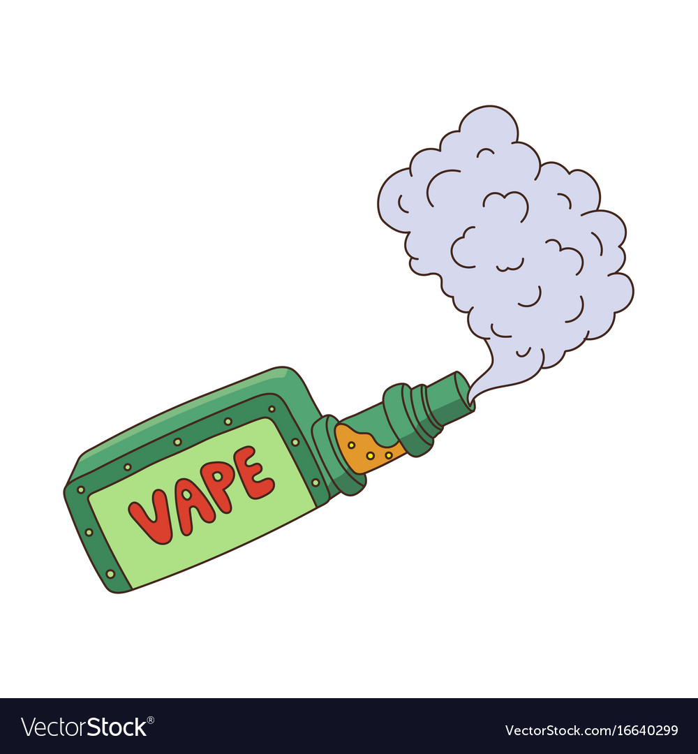 Cartoon vape smoking isolated.