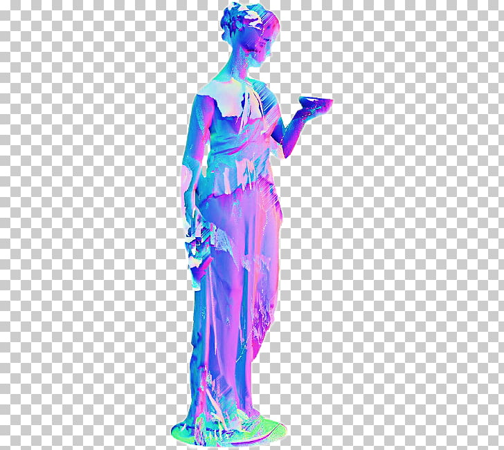Vaporwave Art Roman sculpture Statue, others, woman holding.