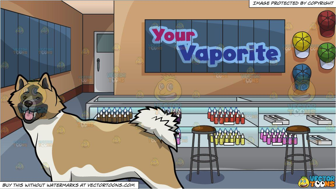 An Alerted Akita Dog and A Vapor Shop And Lounge Background.
