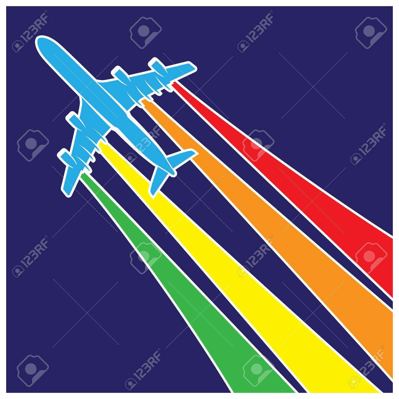 stylized vector illustration on the theme of aviation plane