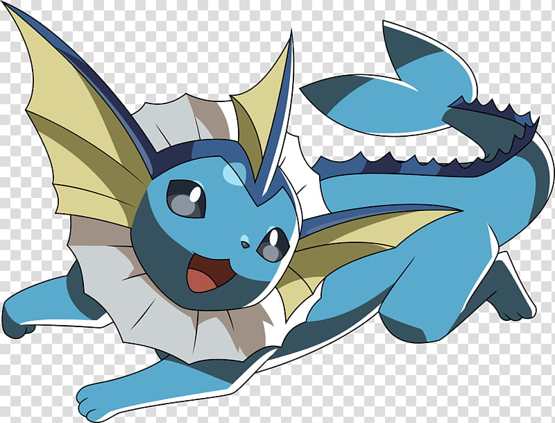 Vaporeon, Water Pokemon character transparent background PNG.