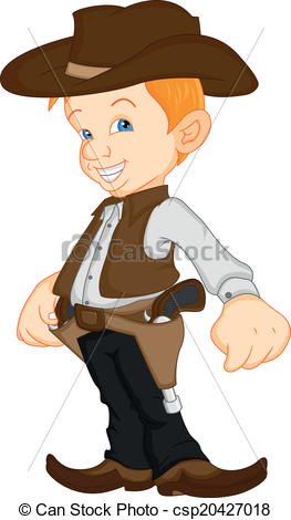 Vector Clip Art of boy wearing western cowboy costume illustration.