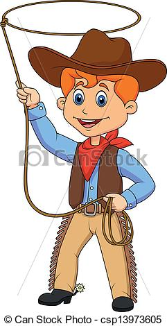 Vector Clipart of Cowboy kid cartoon twirling a lasso.