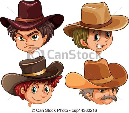 Vector Clip Art of Different faces of four cowboys.