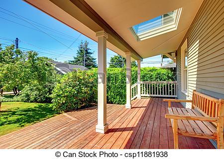 Archivi fotografici di veranda, pavimento, panca, grande, legno.