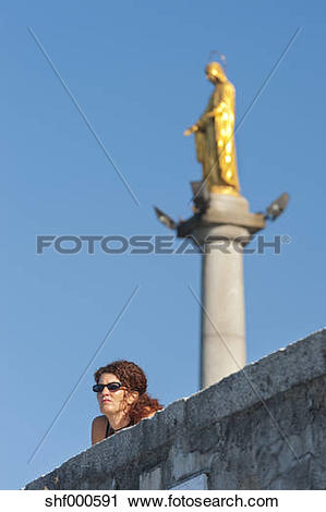 Stock Photography of Italy, Varese, Mature woman looking with.