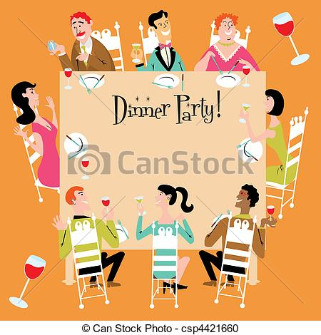 Ladies Dinner Party Clipart.