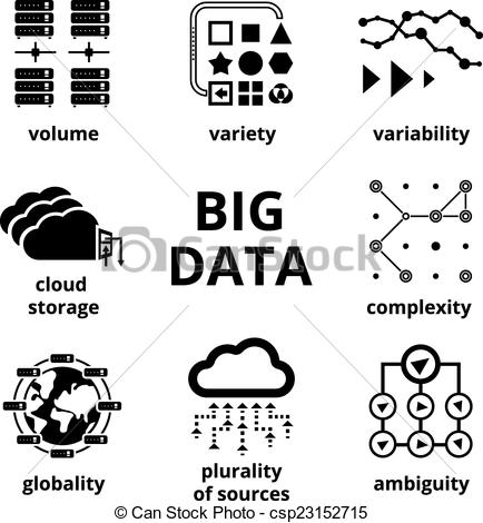 Vector Clip Art of Big data icons. Volume Variety Velocity.