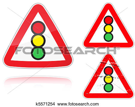 Clipart of Variants a Traffic light control road sign k5571254.