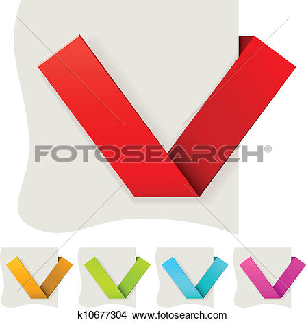 Clipart of Folded paper tick vector template with several color.