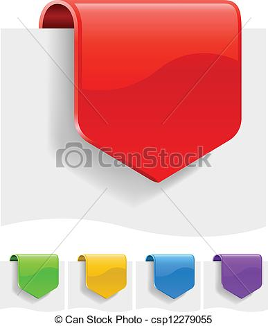 Clipart Vector of Blank discount labels in different color.
