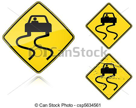 Vector Clip Art of Variants a Slippery when wet.