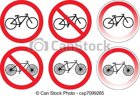 Clipart Vector of Set of variants a bicycle stop sign isolated on.