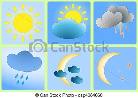 Vector Clipart of Day and Night weather variation.